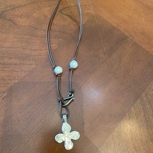 Leather necklace with faux pearl and metal cross